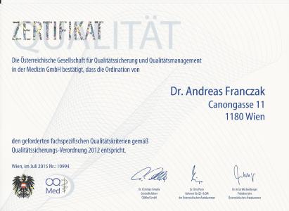 Qualitaaet Zertifikat